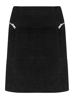 Black Suede Embossed Croc Skirt