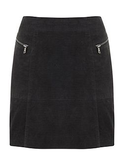 Granite Suede Embossed Croc Skirt