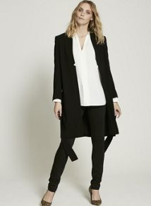Mint Velvet Black Formal Duster Coat