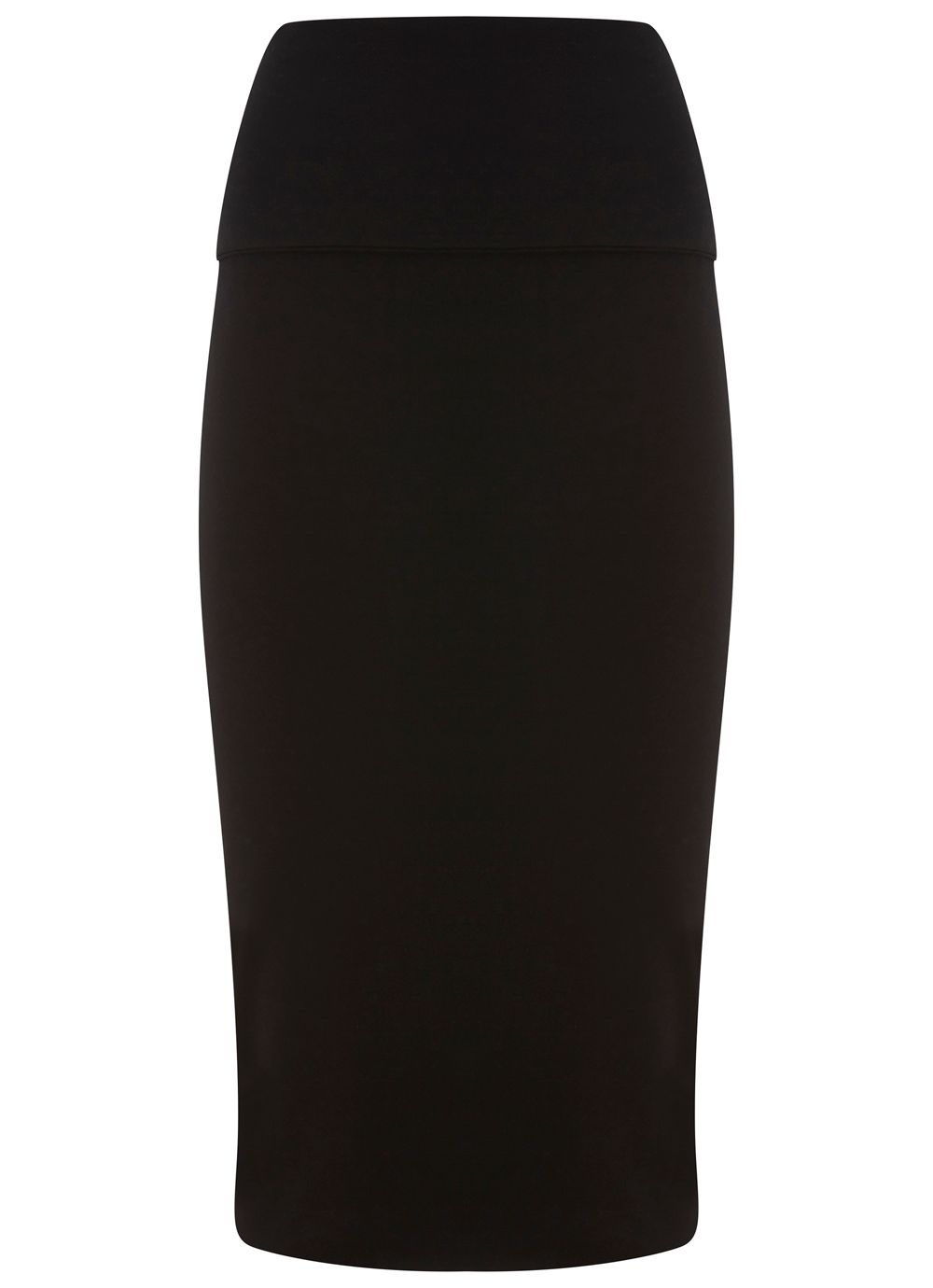 Mint Velvet Black Fold Over Midi Skirt, Black