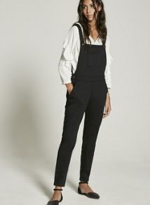 Mint Velvet Black Lux Denim Dungaree