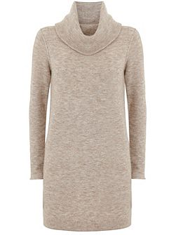 Oatmeal Cowl Neck Knitted Tunic