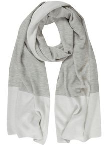 Mint Velvet Grey & Cream Blocked Scarf
