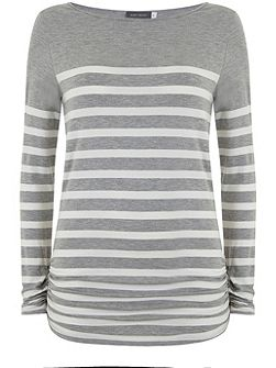 Silver Grey Stripe Block Tee