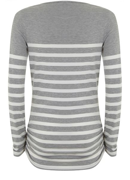 Mint Velvet Silver Grey Stripe Block Tee