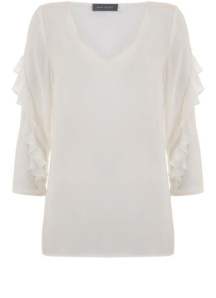 Mint Velvet Ivory Ruffle Sleeve Top