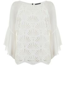 Mint Velvet Cream Lace Fluted Sleeve Top