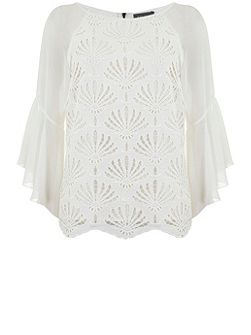 Cream Lace Fluted Sleeve Top