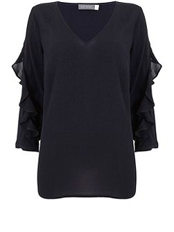 Ink Ruffle Sleeve Top