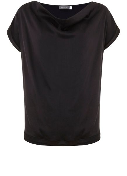 Mint Velvet Black Washed Satin Slouch Tee