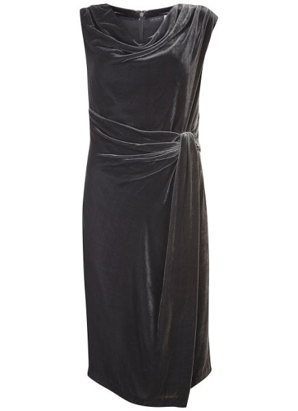 Mint Velvet Charcoal Velvet Drape Dress