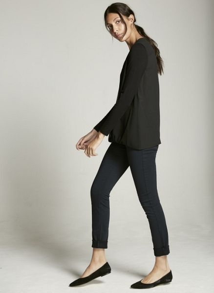 Mint Velvet Black Zip Front Double Layer Blouson Top