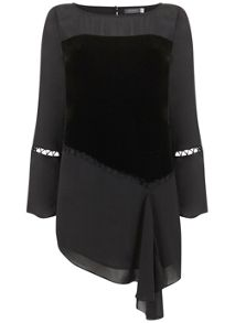 Mint Velvet Black Rouleau Detail Tunic