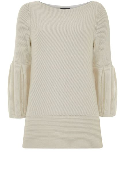 Mint Velvet Cream Bell Sleeve Ribbed Knit