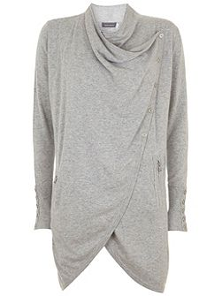 Silver Grey Longline Draped Cardigan