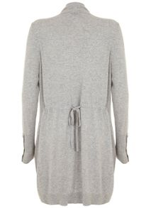 Mint Velvet Silver Grey Longline Draped Cardigan