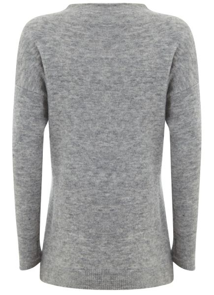 Mint Velvet Grey Marl Funnel Neck Boxy Knit