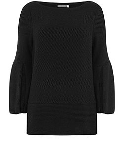 Black Bell Sleeve Ribbed Knit