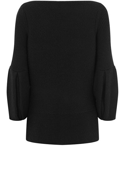 Mint Velvet Black Bell Sleeve Ribbed Knit