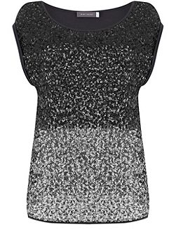 Charcoal Ombre Sequin Tee