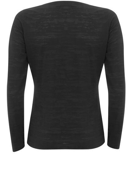 Mint Velvet Black Burnout Long Sleeve Tee