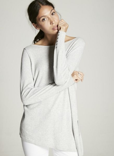 Mint Velvet Silver Grey Asymmetric Side Split Knit