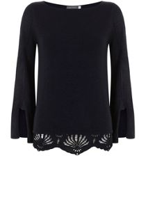 Mint Velvet Navy Lace Hem Fluted Sleeve Knit