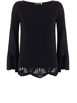 Navy Lace Hem Fluted Sleeve Knit