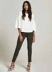 Mint Velvet Ivory Fluted Sleeve Textured Top