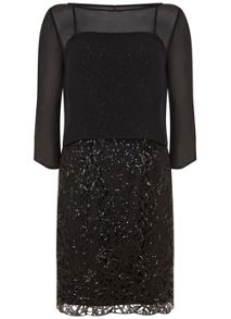 Mint Velvet Black Layered Lace Dress