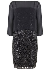 Mint Velvet Charcoal Layered Sequin Dress