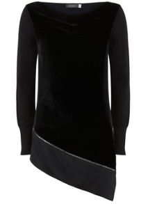 Mint Velvet Black Velvet Front Asymmetric Knit