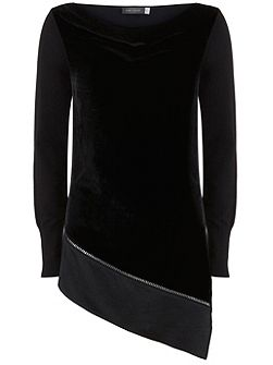 Black Velvet Front Asymmetric Knit