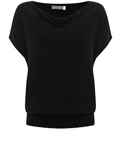 Black Short Sleeve Batwing Knit