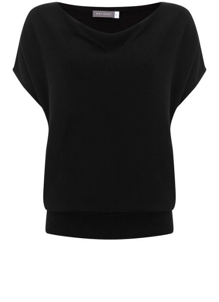 Mint Velvet Black Short Sleeve Batwing Knit