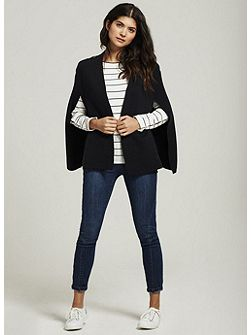 Navy Double Faced Knitted Cape