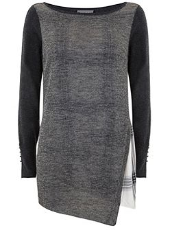 Check Layered Asymmetric Knit