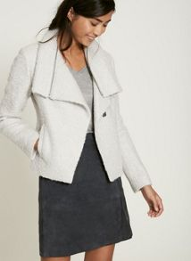 Mint Velvet Winter White Boucle Biker Jacket