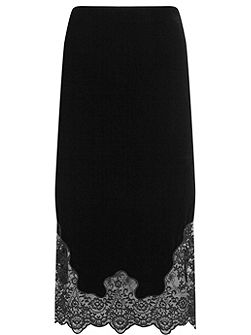 Black Velvet Lace Pencil Skirt