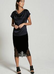 Mint Velvet Black Velvet Lace Pencil Skirt