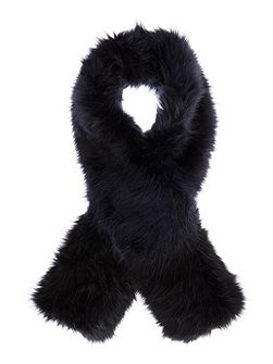 Navy Faux Fur Scarf