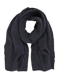 Navy Rib Knit Scarf