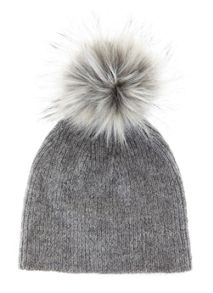 Mint Velvet Granite Rib Knit Hat With Faux Fur Pom Pom
