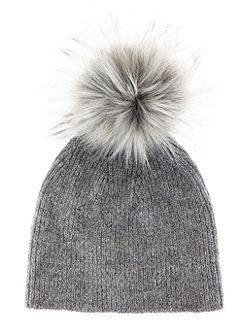 Granite Rib Knit Hat With Faux Fur Pom