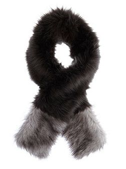 Charcoal Faux Fur Blocked Scarf