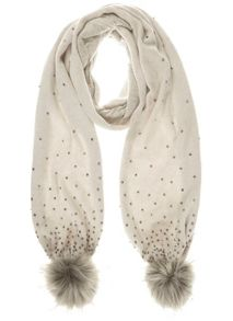 Mint Velvet Neutral Embellished Jersey Scarf