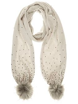Neutral Embellished Jersey Scarf