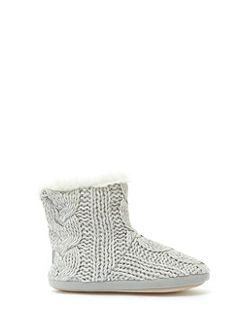 Grey Fur Lined Knt Slippr Boot