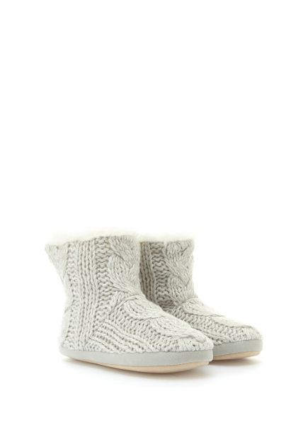 Mint Velvet Grey Fur Lined Knt Slippr Boot