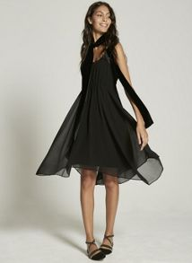 Mint Velvet Black Blocked Asymmetric Dress